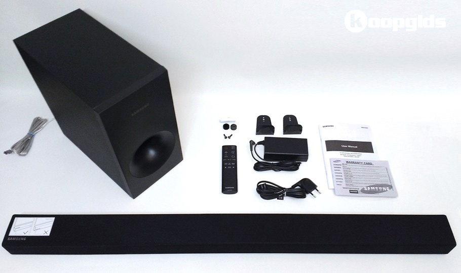 Samsung HW-K335 Soundbar review - Unboxed, inhoud doos