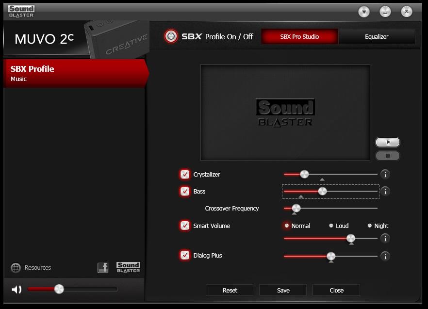 Muvo 2c Sound Blaster Control Panel