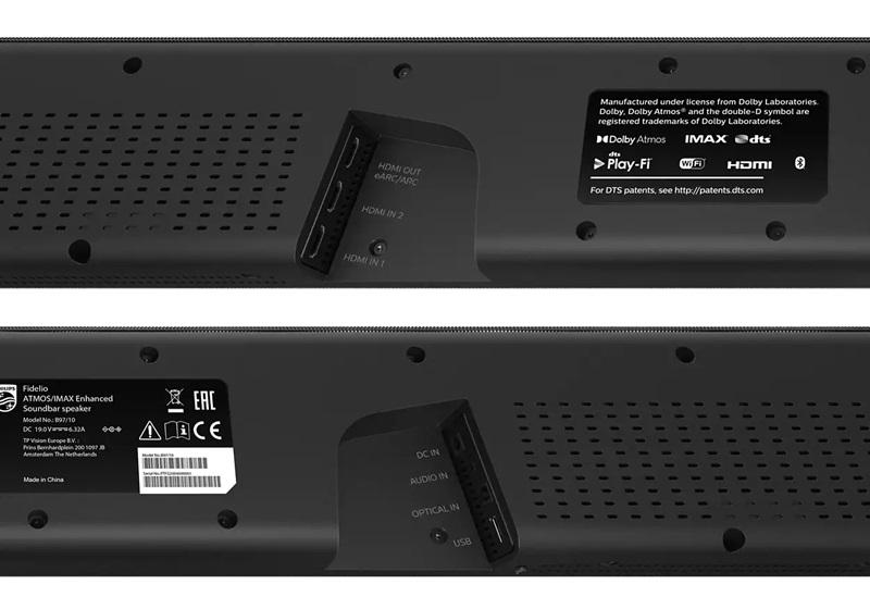 Philips Fidelio B97 Soundbar Aansluitingen